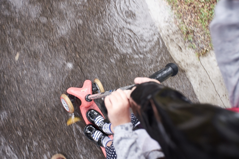 scooting in the rain is fun!