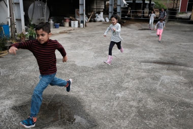 Running around the barn.