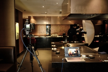 Setting up at a Teppanyaki Restaurant.